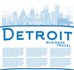 Outline Detroit Skyline with Blue Buildings and Copy Space.