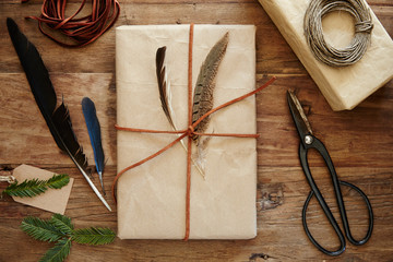 Hipster wrapped gift with leather twine and feathers