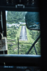 View of Lukla Airport from an approaching airplane, Lukla Valley, Everest Region, Sagarmatha Nationa