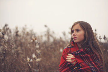 Girl In A Red Blanket