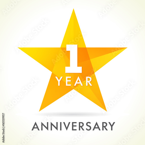 Quot year anniversary star logo st golden