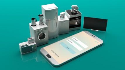 Home appliances on a smartphone. 3d illustration