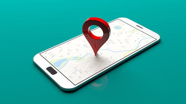 Smartphone - map pointer on the screen, green background. 3d illustration