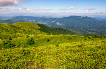 grassy meadow on hillside of mountain range on fine summer day