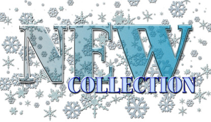 New collection, Fresh text badge, in fresh blue colors and snow flakes, special for winter time, isolated against the white background