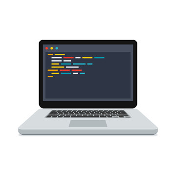 Programming or web development concept with code on the screen laptop, vector illustration