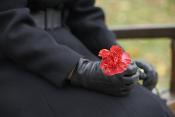 Woman in mourning at a funeral