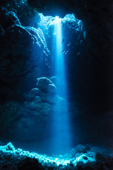 Sunbeam into the underwater cave
