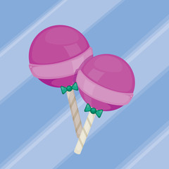 Cute pink candy on blue background.