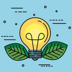 Light bulb with leaves over blue background vector illustration
