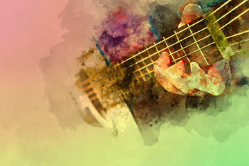 Playing guitar on watercolor background, Digital watercolor painting