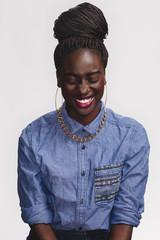 A pretty black girl laughing
