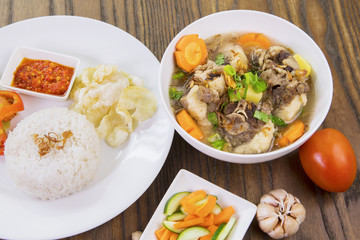 Tasty oxtail soup and rice