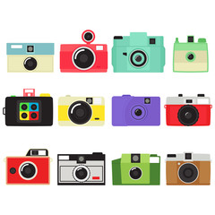 Vintage Camera Collection In White Background