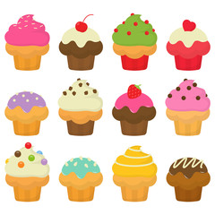 Yummy Cute And Colorful Cupcake Collection
