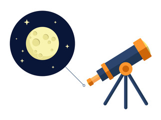 Space telescope looking at moon and stars - vector flat icon - astronomy