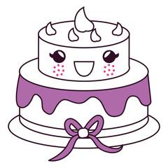 delicious cake celebration kawaii character vector illustration design