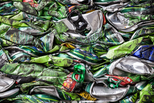 Packed Tins in a Recycle Factory