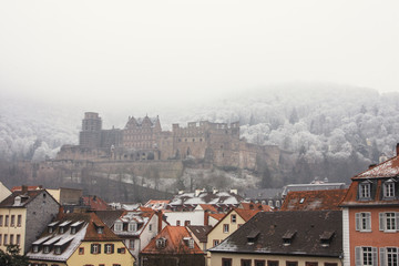 Ruins of a German castle surrounded by a frost-covered hillside