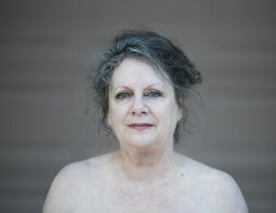 Bare portrait of a mature caucasian woman
