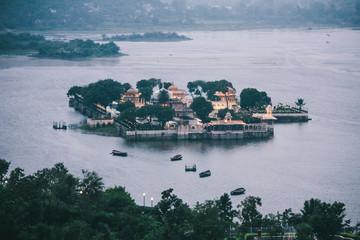 Palace on small island on Lake Pichola, Udaipur, India