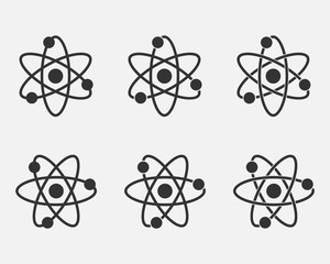 Atom icon set. Nuclear icon. Electrons and protons. Science sign. Molecule Icon isolated on grey background. Vector illustration.