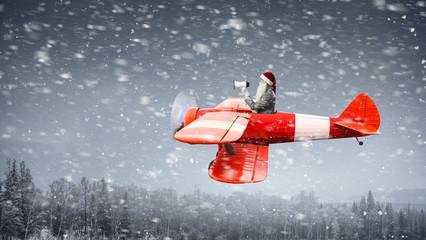Santa is hurrying up. Mixed media