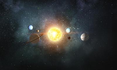 Fototapete - Solar system planets . Mixed media