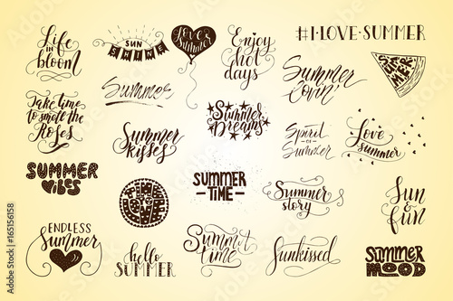 Big Bundle Of 23 Vector Hand Drawn Summer Quotes Handwritten With