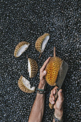 Durian Fruit Cut And Preparation