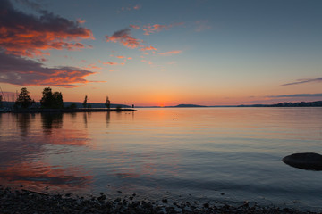 Beautiful sunset in Lahti, Finland
