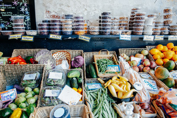 Fresh produce for sale at an urban farmer's market