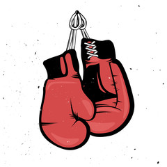 Retro red boxing gloves hanging with a rope