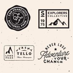 mountain logotypes. Adventure logo templates on travel theme