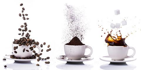 Papiers peints Salle de cafe preparazione del caffè in sequenza dal chicco alla tazzina
