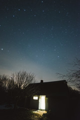 Sauna on a starry night