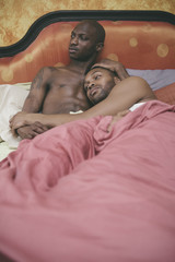 Black Gay Male Couple at Home in Bed