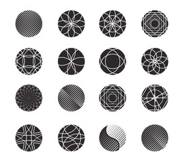 Circle shapes set for design. Simple geometric forms in black an