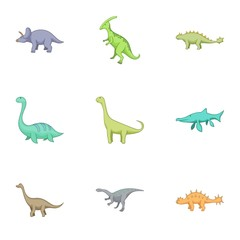 Herbivorous dinosaurs icons set, cartoon style