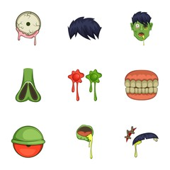 Zombie constructor icons set, cartoon style