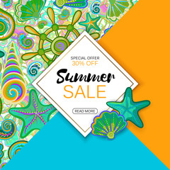 Summer sale banner with objects of marine life, bright design. Vector eps 10