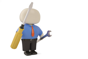 Office man character and tool 3d illustration.