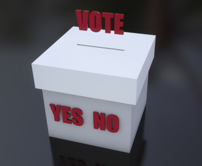 Ballot box to vote and signs yes and no