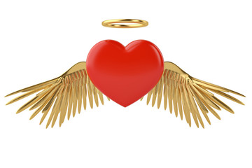 Gold wings and red heart 3d illustration.