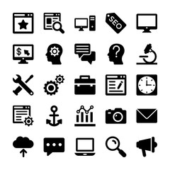 Seo and Digital Marketing Glyph Vector Icons 2