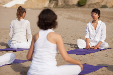 Yoga outdoors class in group