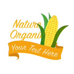 Colorful watercolor texture vector nature organic vegetable banner corn