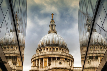 St Paul's Catherdal dome reflected Wall mural