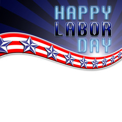 Happy Labor Day, USA white, red, and blue stripes, blu and white stars, plenty of room for your personal messages.