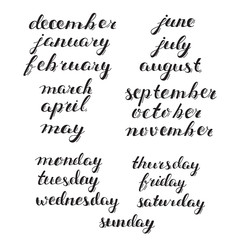 Hand-drawn Calendar Set. Set of Months of the Year and Days of Week. Handlettering Isolated on White.